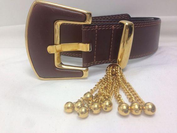 "ESCADA Brown Belt Heavy Gold Metal Leather Buckle West Germany Sz  30 - 33""…"