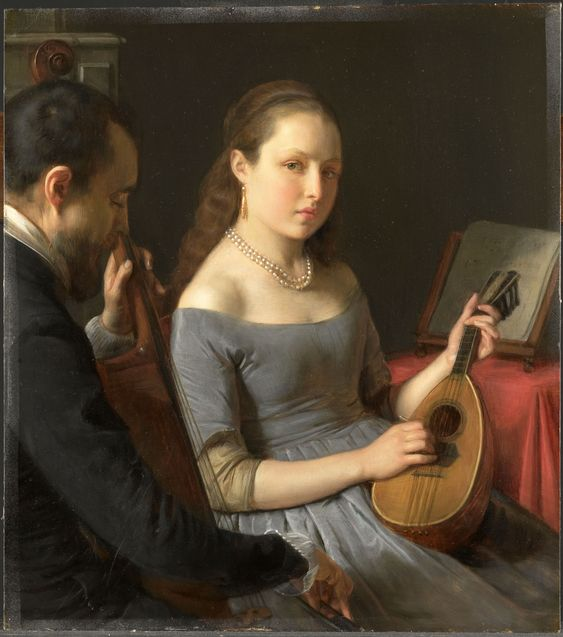 Het duet, geschilderd door Charles van Beveren, 1850, olieverf op paneel, Rijksmuseum