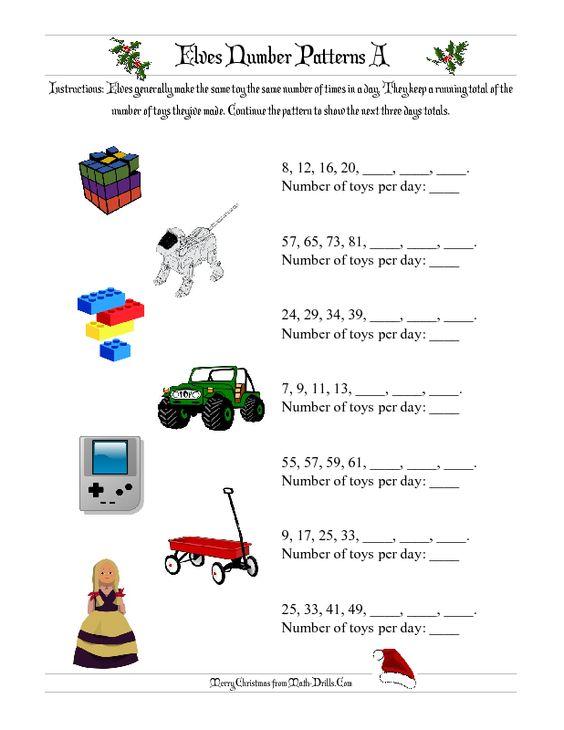 Christmas Math Worksheet -- Elves Number Patterns (A)   The Wheels ...