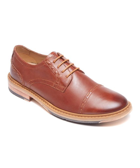 Look at this Rockport British Tan Parker Hill Leather Oxford on #zulily today!