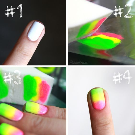 white base nail + three neon colors on an acetate/plastic sheet + makeup sponge + nail polish remover around the cuticles = gradient nails! (site is in french, this is the summation in english) tryin right noww :)