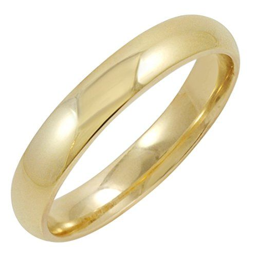 Solid 14K Yellow Gold 4 MM Size 8 Wedding Ring Band  Mens Womens plain