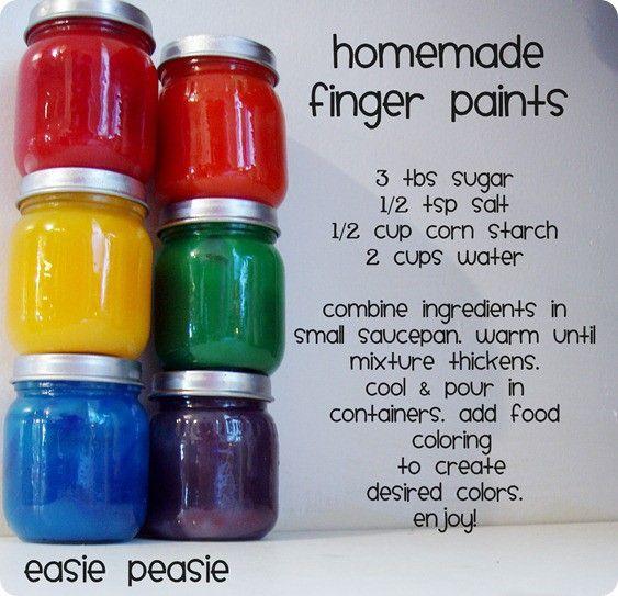 Homemade finger paints. Homemade finger paints. #neat