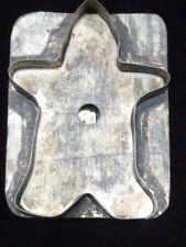ANTIQUE TIN METAL GINGERBREAD MAN COOKIE CUTTER VINTAGE HANDLED WOW ! MACABRE
