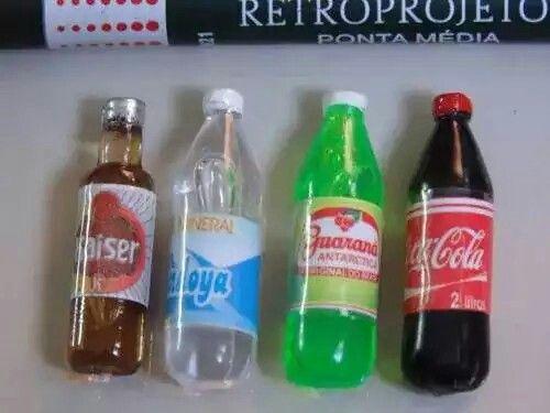 Lote Com 4 Miniaturas De Garrafas Água Guaraná, Coca Cerveja