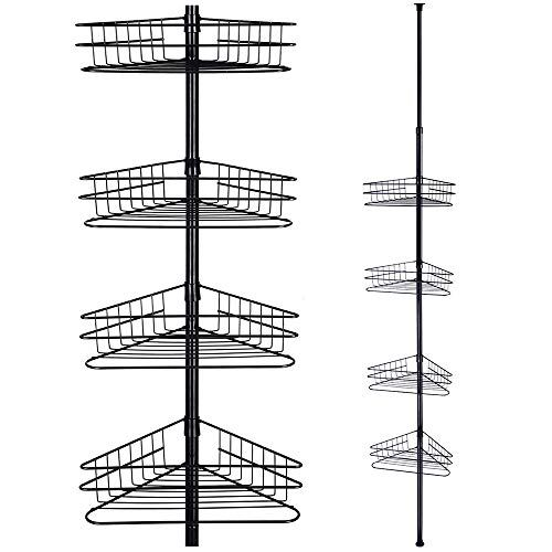 Yescom 4 Tier Metal Bathroom Telescopic Corner Shower Shelf Caddy Pole Wall Rack Storage Organizer Soap Holder Corner Shower Caddy Shower Shelves Shower Caddy
