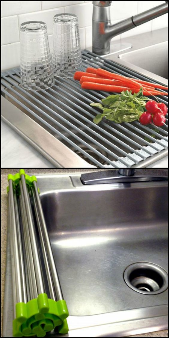 This roll-up drain rack is handy for small space living. It cleverly uses available space on your sink and can be stored very easily and compactly.  http://theownerbuildernetwork.co/yok5  Need a drying rack you can use when rinsing produce and dishes? Then this folding drain rack might be for you!: