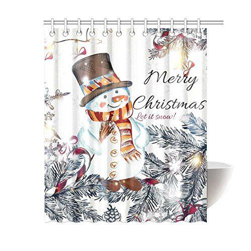 Gckg Christmas Snowman Snowflakes Shower Curtain Happy New Year