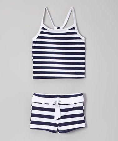 Loving this Navy & White Stripe Tankini - Toddler & Girls on #zulily! #zulilyfinds