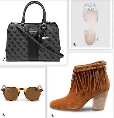 Summer Trends 2016: Grey and black handtasche, white opened ballerinas, carey printed sunglasses, brown booties with fringes.