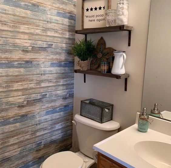 Ванная комната деревянная стена