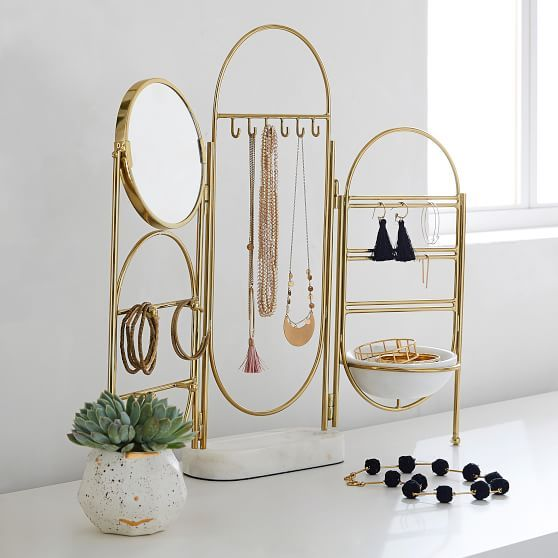 Marble And Gold Jewelry Holder Screen In 2020 Jewellery Storage Jewelry Holder Jewelry Stand