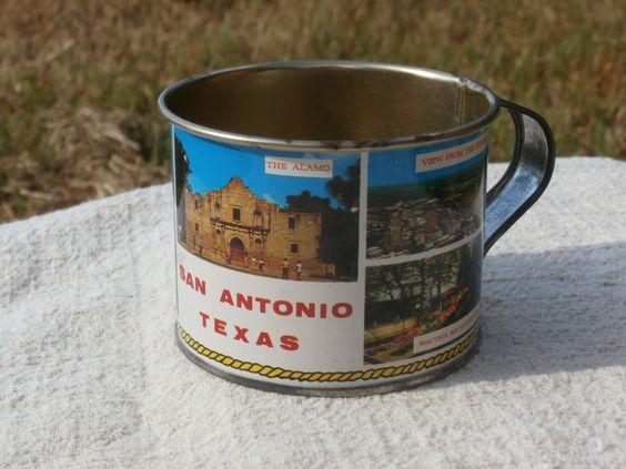 Vintage Souvenir Tin Cup from San Antonio, Texas