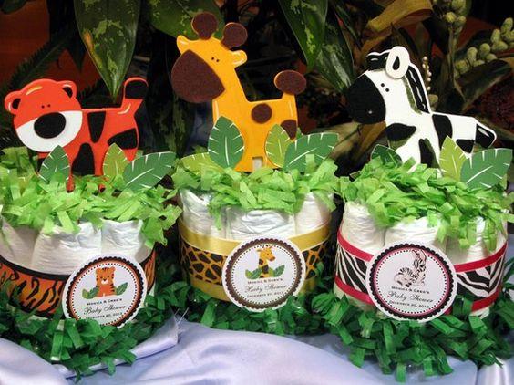 JUNGLE SAFARI Baby Shower Diaper Cake Centerpieces (Etsy)