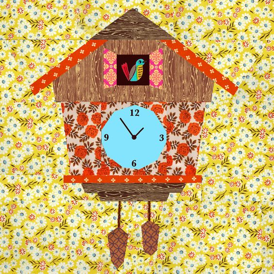 Cuckoo Clock quilt block, paper pieced quilt pattern, PDF pattern, instant download, clock pattern by BubbleStitch on Etsy https://www.etsy.com/listing/192807396/cuckoo-clock-quilt-block-paper-pieced: