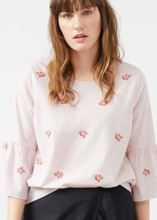 Blouse broderie florale - Chemise  Grandes tailles | Violeta by MANGO France