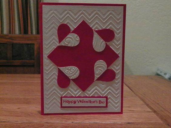 Valentine card Embossed yin yang hearts by Cardsdesignedbymary