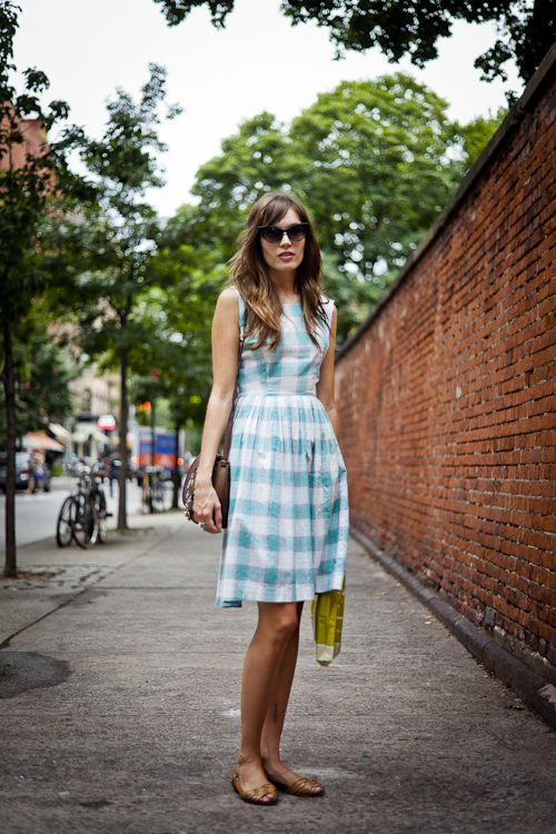 large blue gingham dress and woven leather flats- I need this dress, but I can't find it on the website. CAN ANYONE HELP?