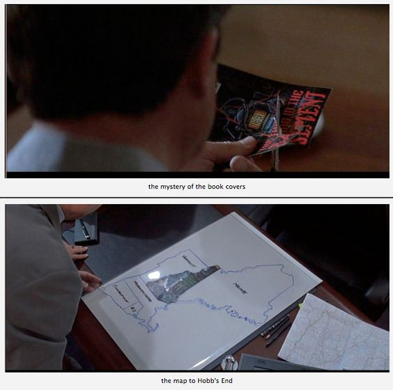 """In the Mouth of Madness - Neill's character discovers that all the book covers have some unusual artwork and, with scissors, he cuts away revealing a puzzle that in turn represents a map that takes you to the fictional town from all of Cains stories called """"Hobb's End"""".  It takes a hellish nightmare to get you there,"""