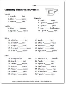 Free Customary Measurement Practice worksheet or quiz ...