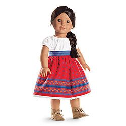 Joserfina's Outfit       A white camisa edged in lace     A bright-red skirt printed with a sprinkling of tiny blue wildflowers     A beautiful blue woven sash     Soft white drawers     Faux-leather moccasins with laces  Z
