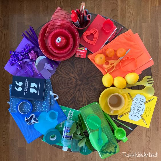 If you've been following any art teacher accounts on social media lately, you've probably seen it… the Color Wheel Challenge! The idea is simple… gather items in bright, solid colors from around your home, assemble them into color wheel order, and snap a pic! Then share your creation on social media using the hashtag #colorwheelchallenge …