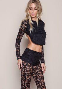 Black Lace Curved Crop Top, BLACK