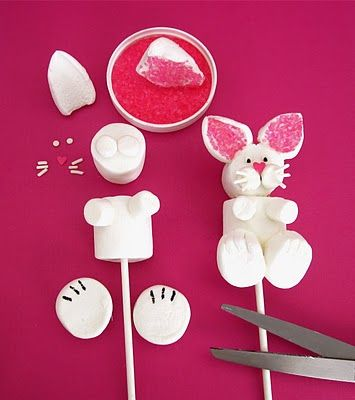 Easter Bunny Marshmallow Pops (i will never make these, but they are so cute!: