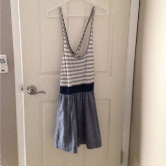 Cute Abercrombie and Fitch summer dress Grey and white stripped tank and chambray skirt. Super cute dress bought from another Posher. Too short for me :( Abercrombie & Fitch Dresses