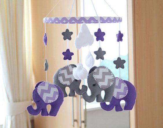 Elefante roxo celular - Nursery móvel - feito à ordem