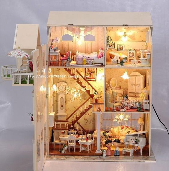 Fairy homeland diy wooden dollhouse lighting three for Doll house lighting