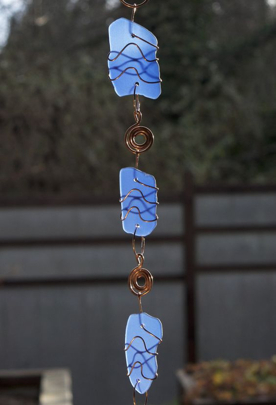 Blue Glass and Copper Handmade Windchime Suncatcher - Coast Chimes - 2