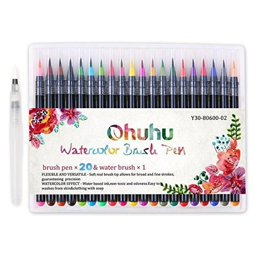 Watercolor Brush Pens Ohuhu 20 Colors Water Color Painting