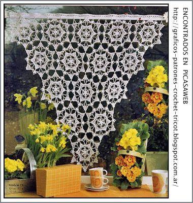 Crochet ganchillo patrones graficos cortina tejida for Cortinas ganchillo
