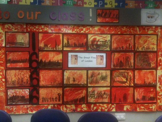 """Quote: """"This is an art display for our topic of The Great Fire of London (Year 2). The children each contributed to the border using oil pastels. The fire silhouette pictures were created using watercolour paint and then black pencil crayons over the top once the paint had dried. We looked at photographs of fire as well as a number of sunset silhouette photographs for inspiration."""""""
