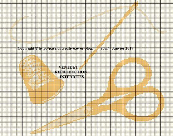 Grille gratuite point de croix ciseaux d de couture for Fil de couture