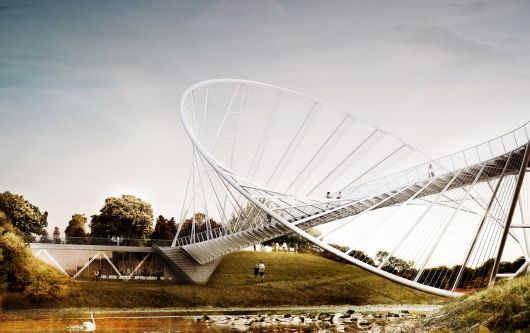 "The ""O"" bridge proposal by Chris Precht and Alex Daxböck for Salford Meadows Bridge Competition 