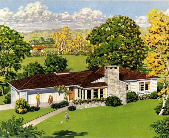 Home house plans and home renovation on pinterest for Characteristics of ranch style homes