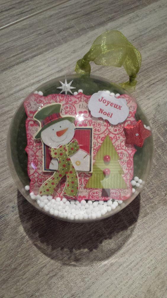 Boule Joyeux Noël avec bonhomme de neige chapeau vert, neige : Accessoires de maison par seve-creascrap