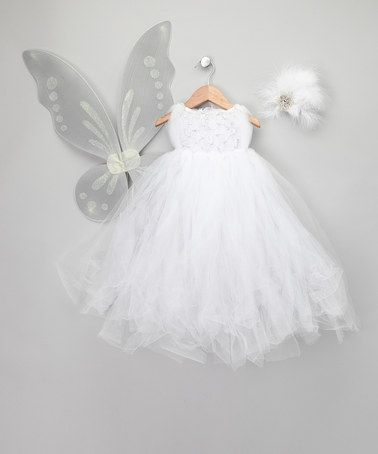 Take a look at this White Snow Fairy Dress Set - Infant, Toddler ...
