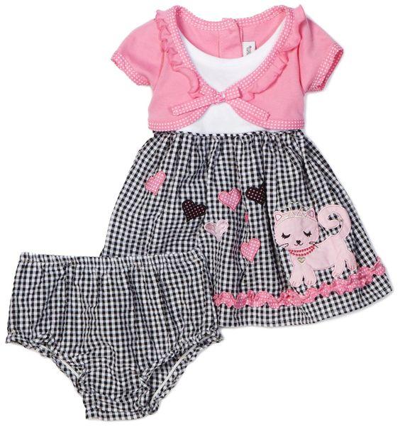 Youngland Baby girls Infant Mock Cardigan Seersucker Dress