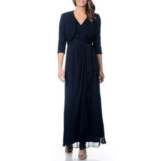 Patra Women's Petite Lace Jacket Evening Gown