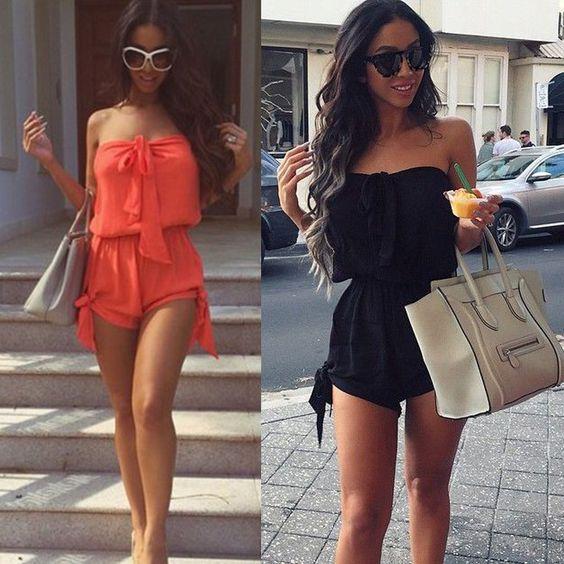 Damen Bandeau Kurze Overalls Hose Jumpsuit Schwarz /Orange Einteiler 34-36 in Kleidung & Accessoires, Damenmode, Overalls | eBay