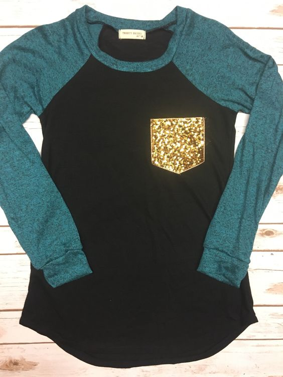 Sequin Pocket Long Sleeve Top-Teal and Black