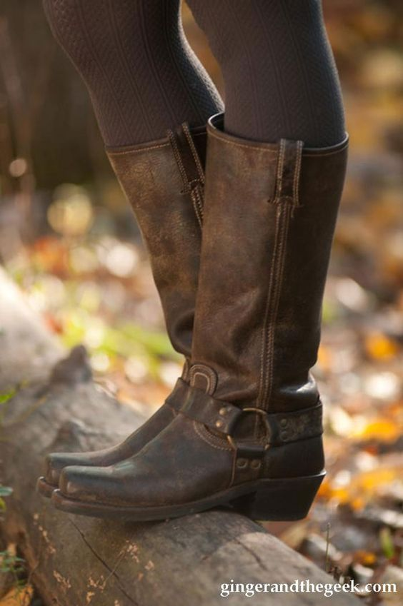 Frye harness boots.