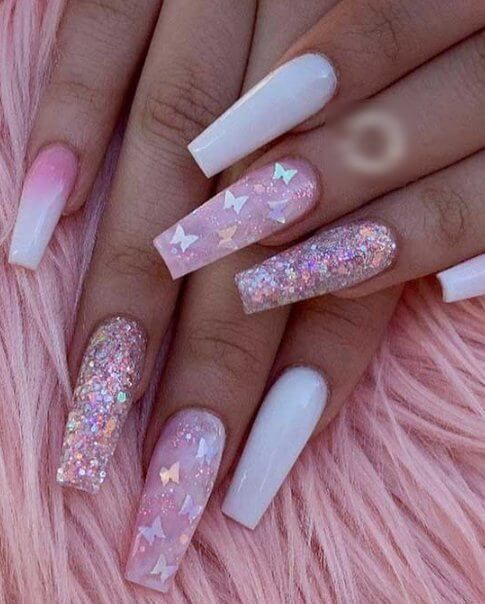 Light Pink And White Butterfly Nails In 2020 Cute Acrylic Nail Designs Light Pink Acrylic Nails Acrylic Nails Coffin Pink