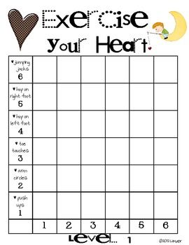 Worksheets Kindergarten Exercise free exercise your heart game counting graphing and exercising all at the same time