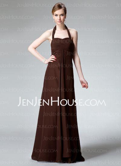 Bridesmaid Dresses - $114.99 - Sheath Halter Floor-Length Chiffon Bridesmaid Dresses With Ruffle (007001743) http://jenjenhouse.com/Sheath-Halter-Floor-Length-Chiffon-Bridesmaid-Dresses-With-Ruffle-007001743-g1743