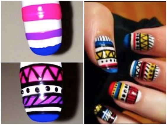 Tribal nail art in two different color palettes.