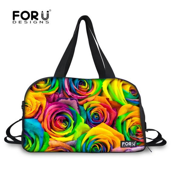 Multicolor Floral Women Gym Tote Bag Flower Printing Female Ladies With Independent Shoe Socket Bolsa Fitness Feminina